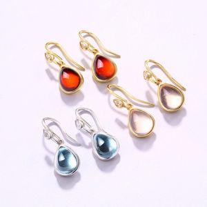 Tear Drop Garnet/Blue Topaz/Rose Quartz Earrings